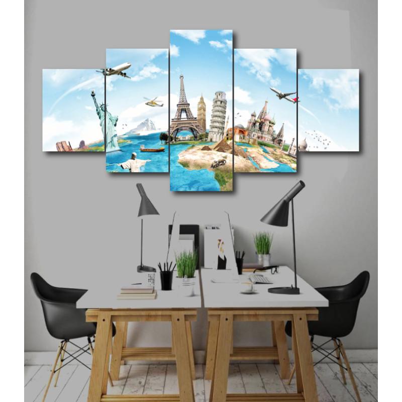 Wall Frames 5 Pieces Set Canvas - Digitally Printed Wall Canvas  post-248