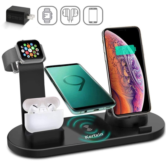 4 in 1 Wireless Charging Station Dock with USB for Apple Watch iWatch,Airpods,iPhone & Type-C