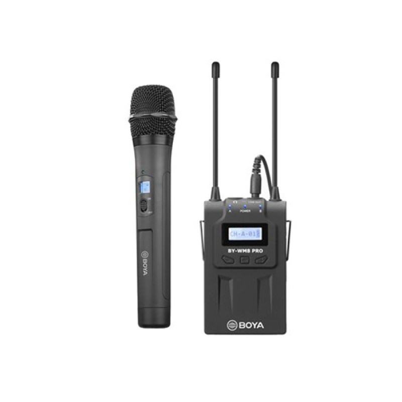 BOYA RX8 Pro UHF Wireless Bodypack Receiver Dual Channel with BOYA WHM8 Pro Wireless Mic