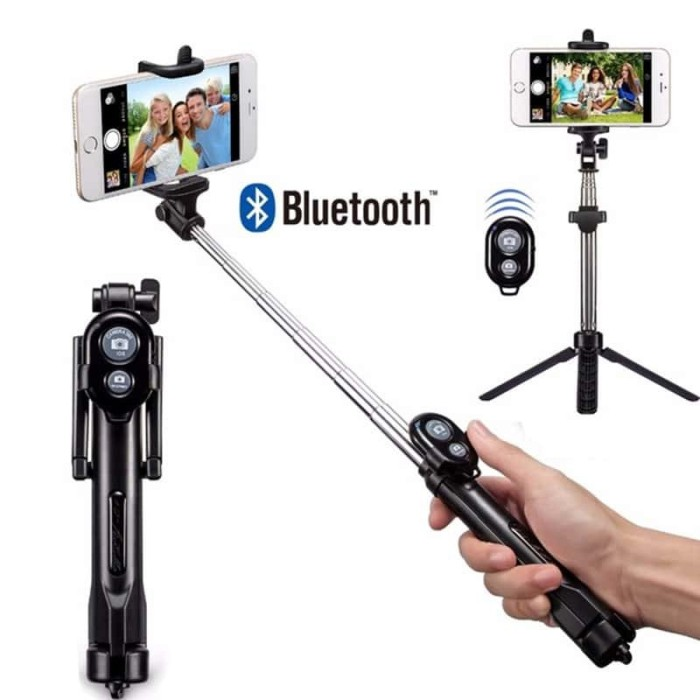Bluetooth Shutter Supported Selfie Stick With Tripod 2 in 1