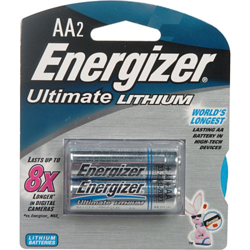 Energizer Ultimate Lithium AA World's Longest Lasting Double AA Battery (Pack of 2)