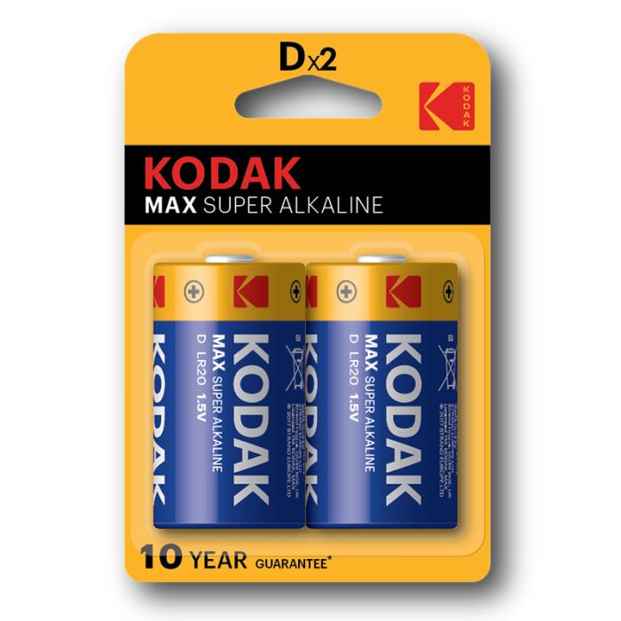 Kodak Max Super Alkaline D (Pack of 2)