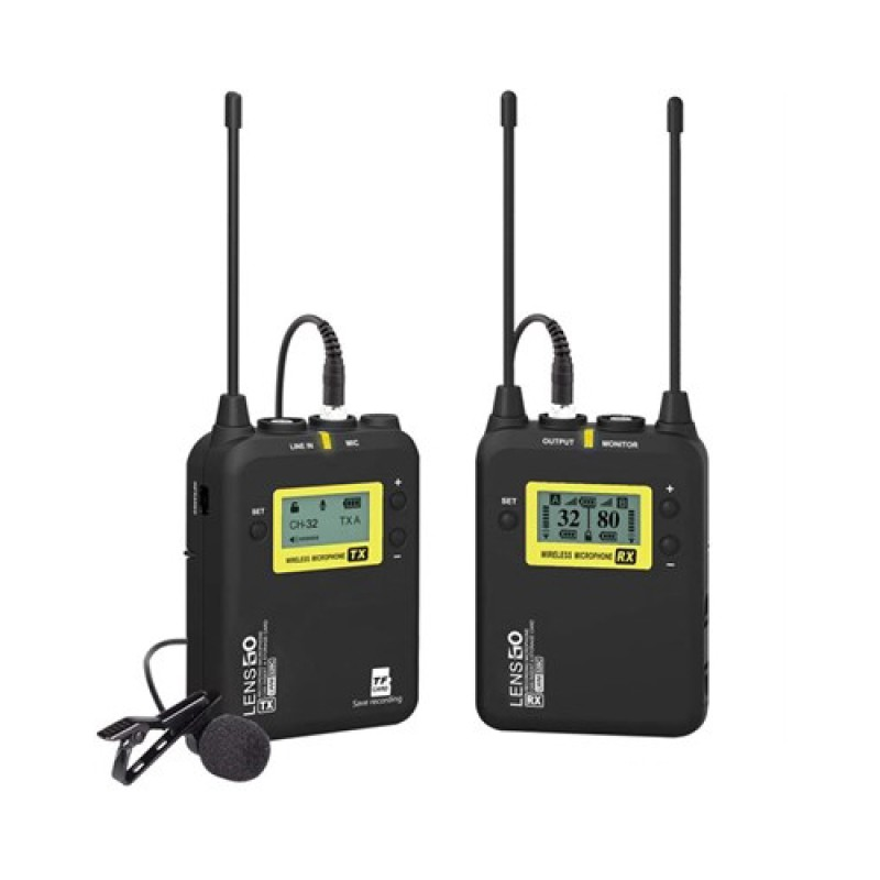 LENSGO LWM-328C Lavalier Microphone System, 99-Channel UHF Professional Omnidirectional Lavalier Lap