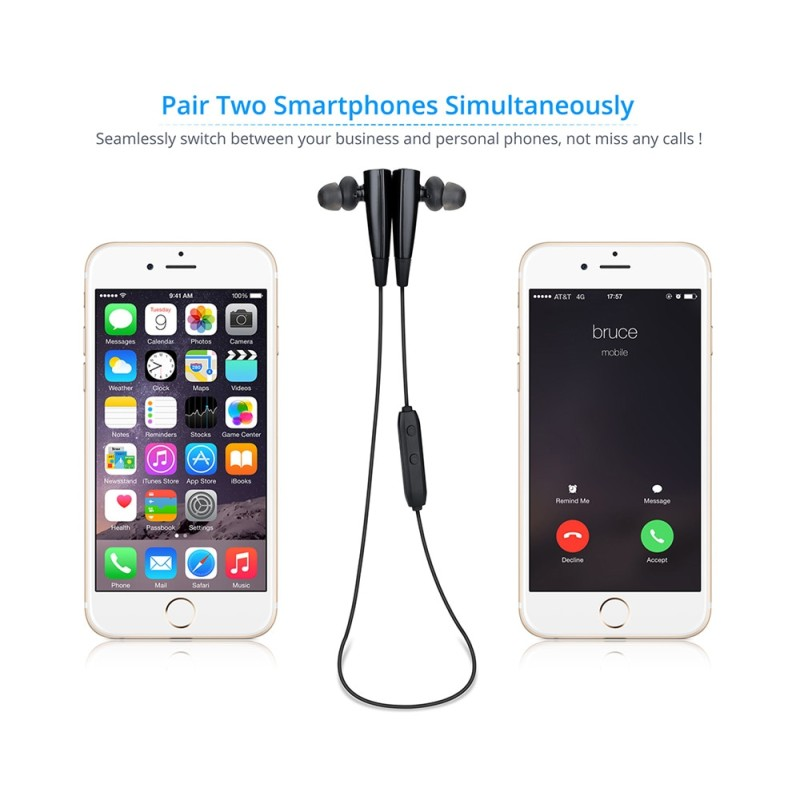 MPOW Bullfight Bluetooth V4.1 Sport Earbuds with Mic - Black