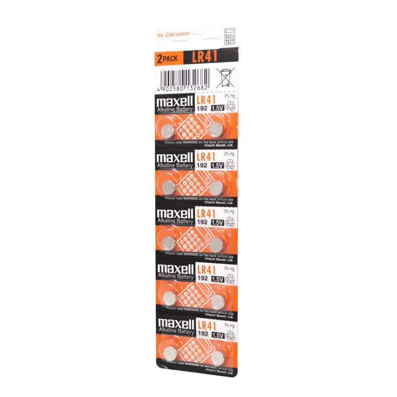 Maxell LR41 1.5V Alkaline Battery (Pack of 10)