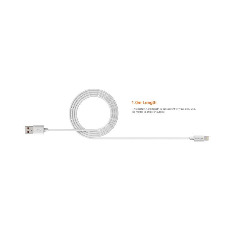 Riversong Beta Lightining USB 2.4A, 1 Meter Charging Cable | White |