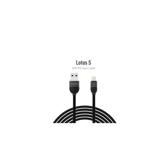 Riversong Lotus Lightining USB 2.4A, 1 Meter Charging Cable | Black |