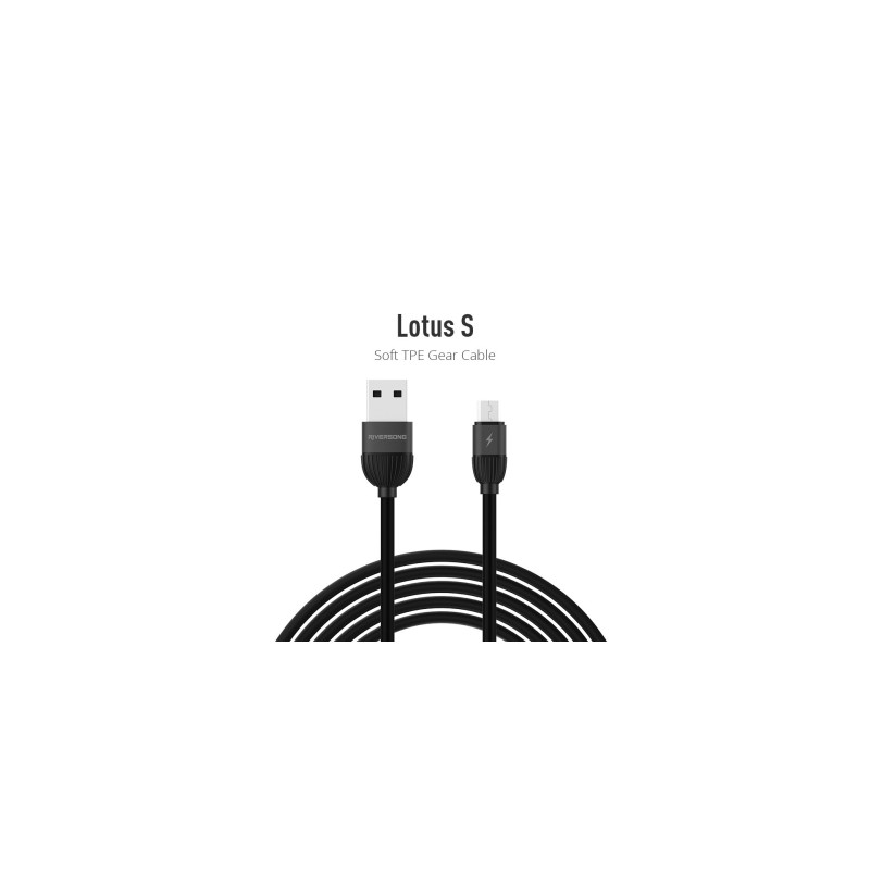 Riversong Lotus Micro USB 2.4A, 1 Meter Charging Cable   Black  