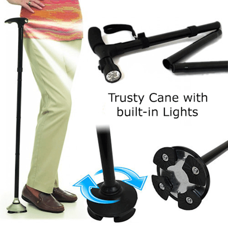 Trusty Cane - Sturdy Folding Walking Triple Head With Built in Lights - Fordable Walking Stick